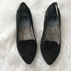 Black Suede Flounced Loafers